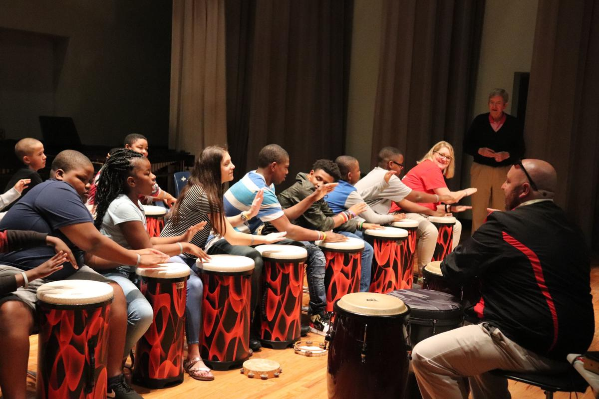 OMS students with special needs drum ensemble