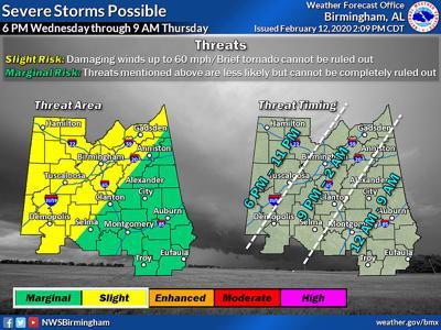 NWS map for Thursday