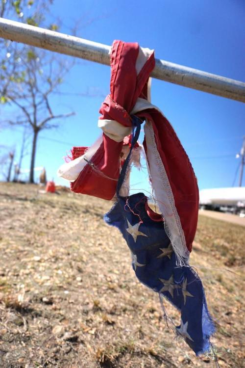 Tornado--wrapped flag