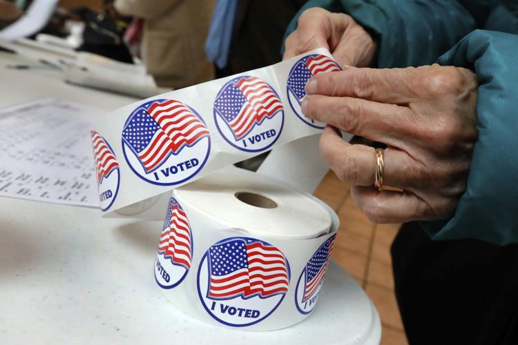 """I voted"" election sticker, vote logo, election logo"