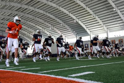 Auburn football practice on the first day of full pads
