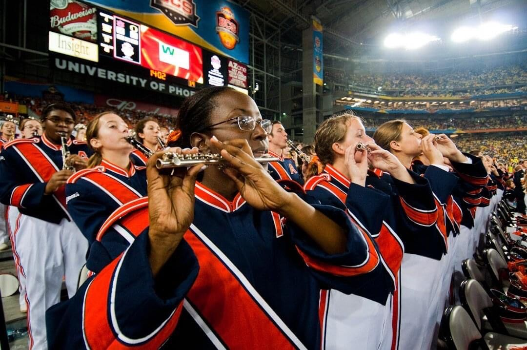 Veronica Brock plays alongside the Auburn University Marching Band