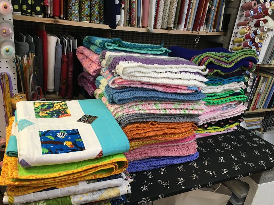 Crafted blankets made by Project Linus members