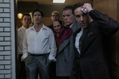 """New faces for familiar characters in """"The Sopranos"""" prequel """"The Many Saints of Newark,"""" from left: Billy Magnussen as Paulie Walnuts, Jon Bernthal as Johnny Soprano, Corey Stoll as Junior Soprano, John Magaro as Silvio Dante, Ray Liotta as """"Hollywood Dick"""" Moltisanti and Alessandro Nivola as Dickie Moltisanti."""