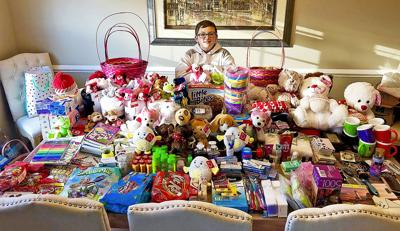 Char Houston Student Delivering Easter Baskets To Nursing Home