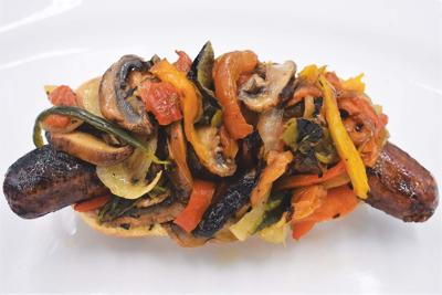 Grilled Sausages with Peppers, Mushrooms and Onions