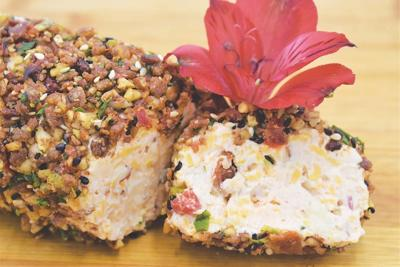 Cheese Log Encrusted with Crispy Bacon and Toasted Pecans