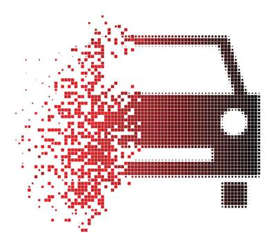 Dissolving Dotted Halftone Car Icon