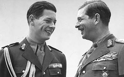 Prince Mihai and King Carol II in 1940
