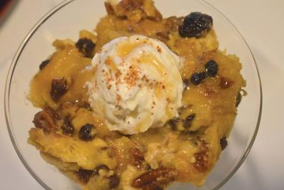 Panettone Bread Pudding Embellished with Bourbon Sauce