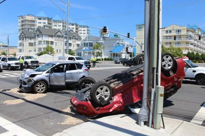 Car flips over after crash on 59th Street and Coastal