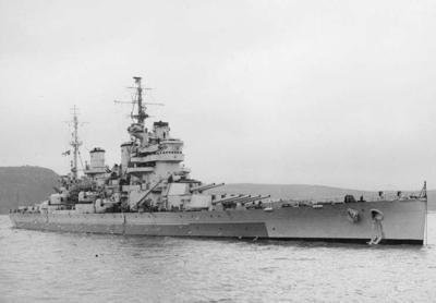 111 HMS Anson at Devonport, March 1945