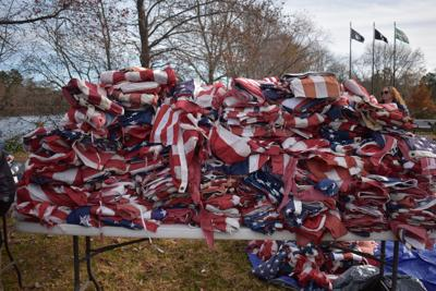 American Legion and Scouts retire close to 1,600 flags