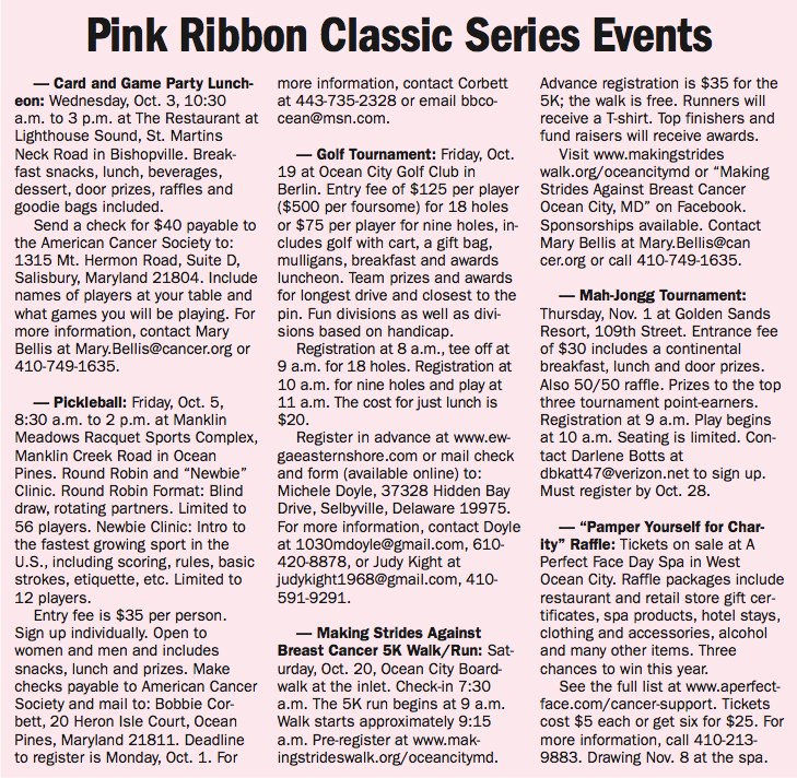 Pink Ribbon Classic events 2018