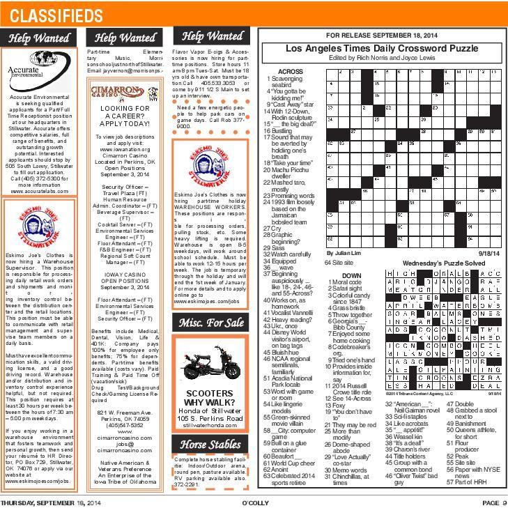 Thursday 9-18 Crossword | Puzzles | ocolly com