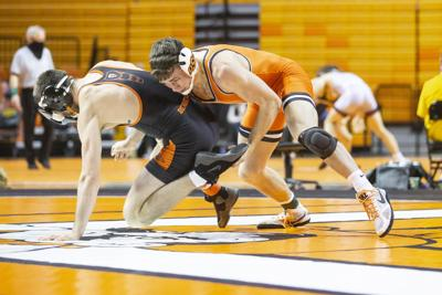 Oklahoma State Cowboy Wrestling vs Oregon State Beavers, Sunday, January 10, 2021, Gallagher-Iba Arena, Stillwater, OK. Bruce Waterfield/OSU Athletics