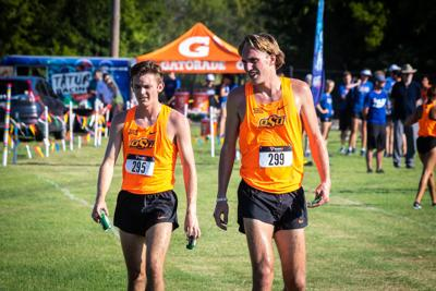Owen Krewshew and Garrett Calhoun talk after race