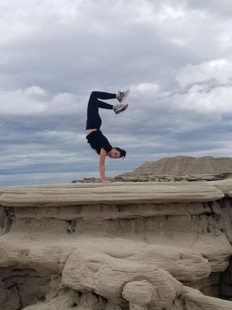 Rochelle doing a handstand