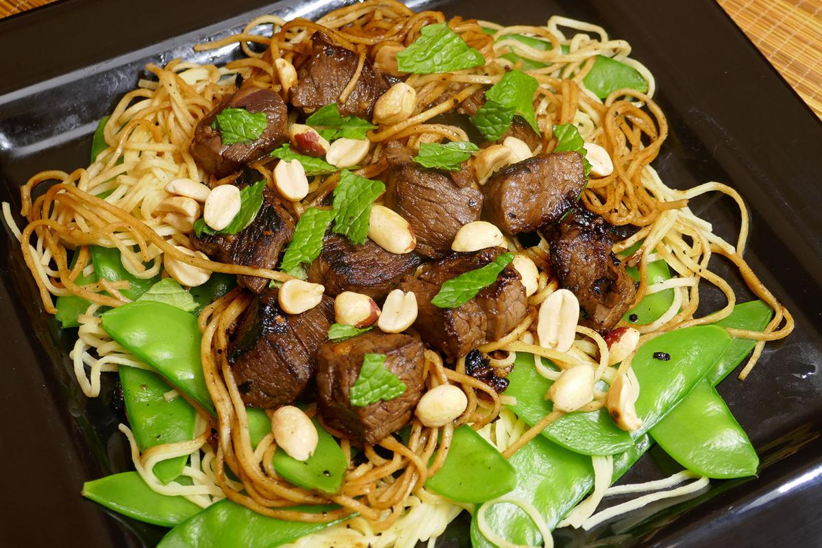 Vietnamese shaking beef and noodles.