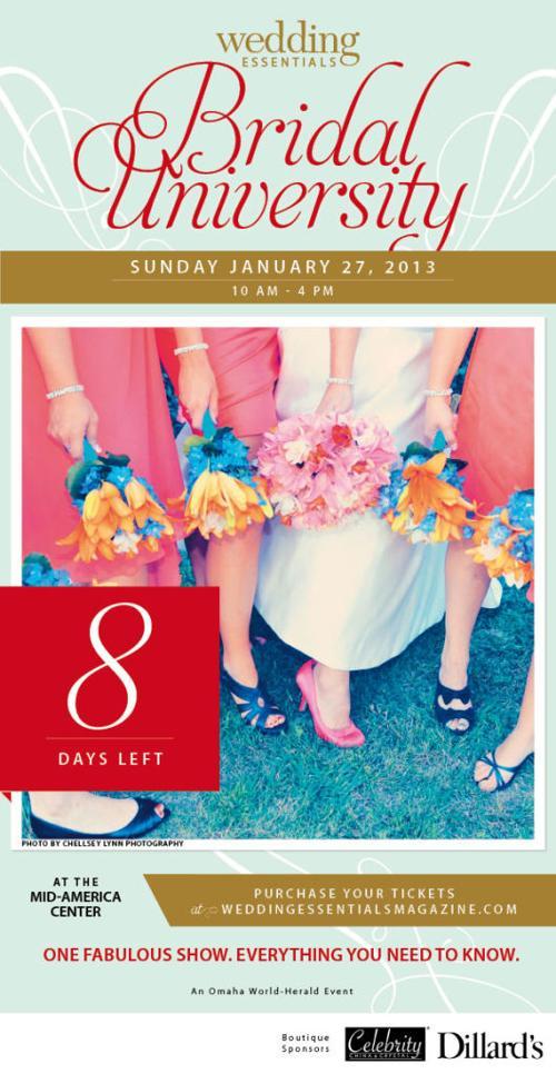 8 days left until Wedding Essentials Bridal University 2013!