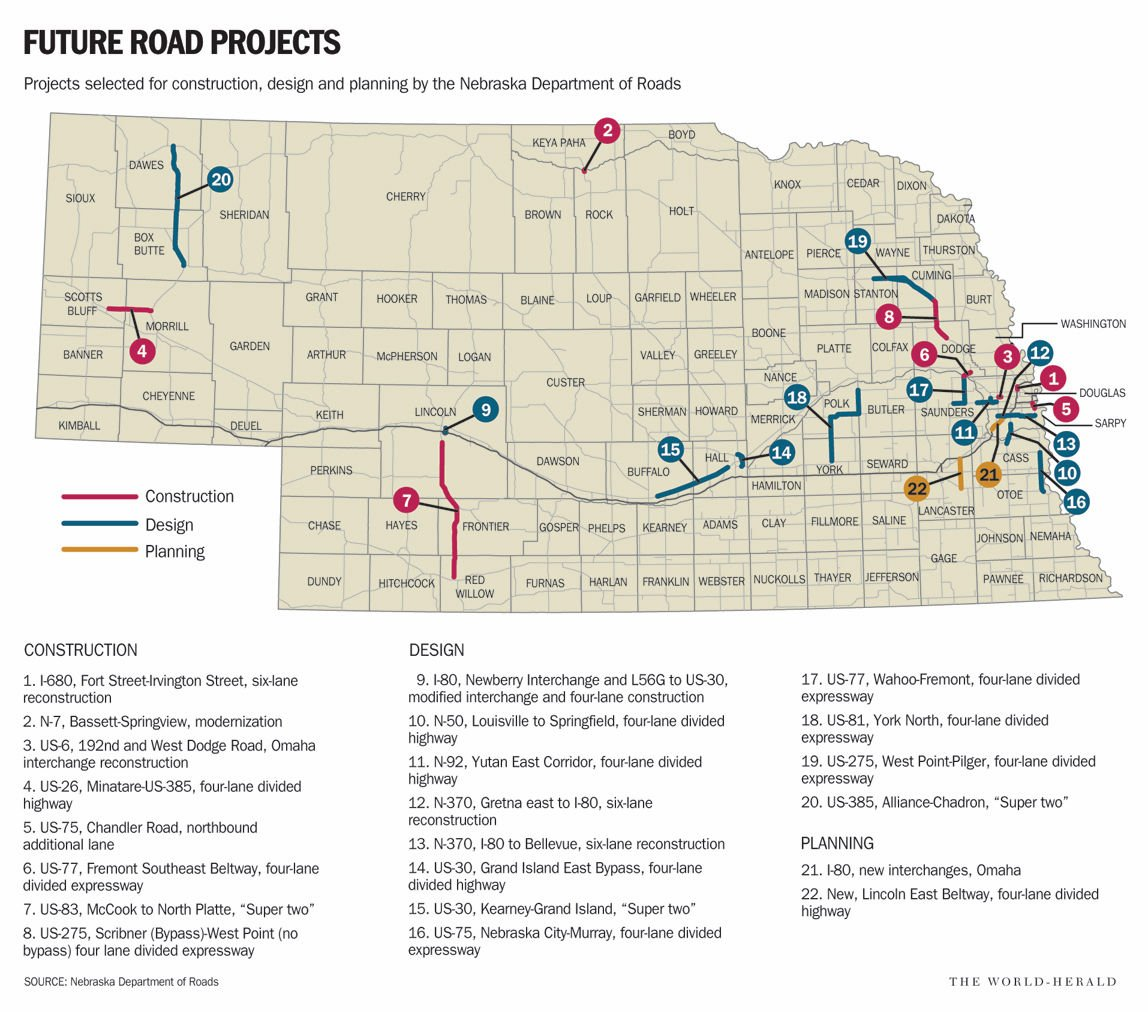Extension Of Highway Expressway Improvements To Segment Of I - Nebraska on a us map