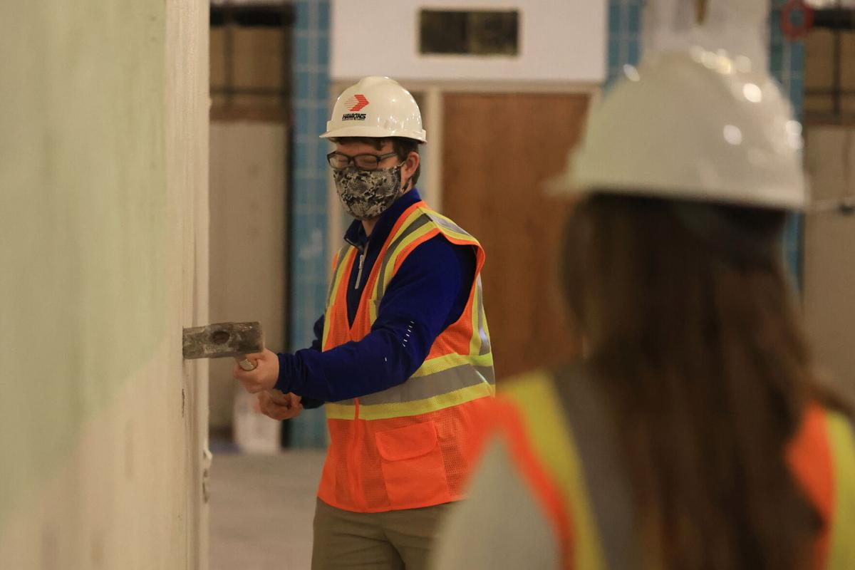 "Students swing sledge hammers to ""break ground"" for new innovation center at Daniel J. Gross High School"