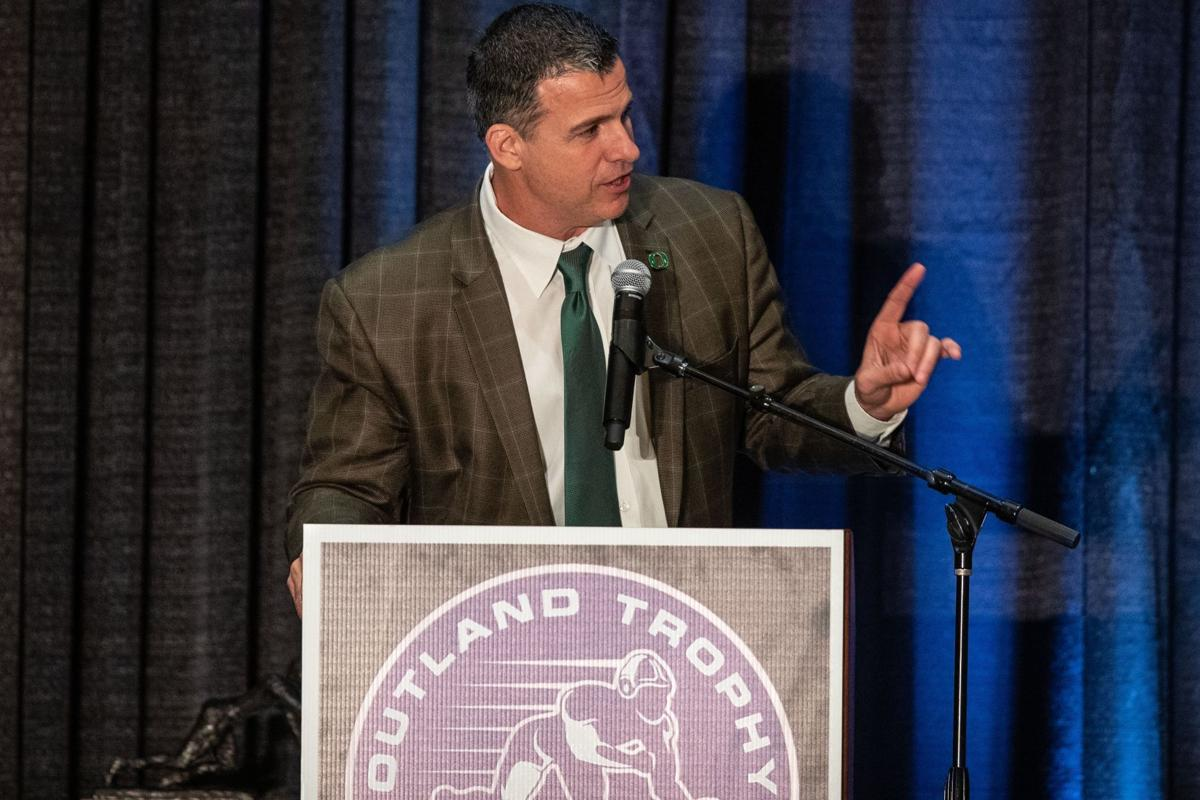 Mario Cristobal at the Outland Trophy ceremony