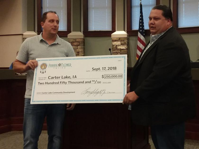 Ponca Tribe cuts $250,000 check to Carter Lake for new casino  the first of several payments