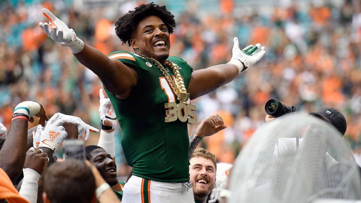 University of Miami defensive end Gregory Rousseau wears the turnover chain during a 2019 game against Central Michigan.