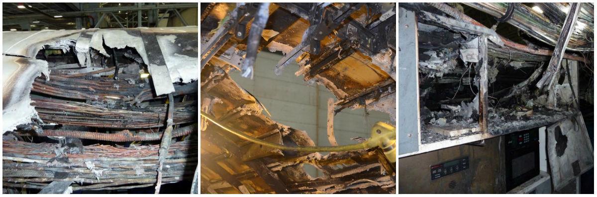 Plane fire collage