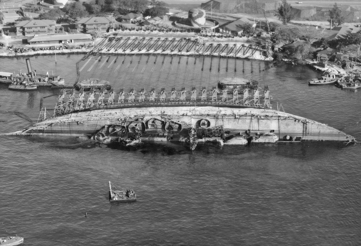 USS Oklahoma during 1942-43 salvage operations at Pearl Harbor