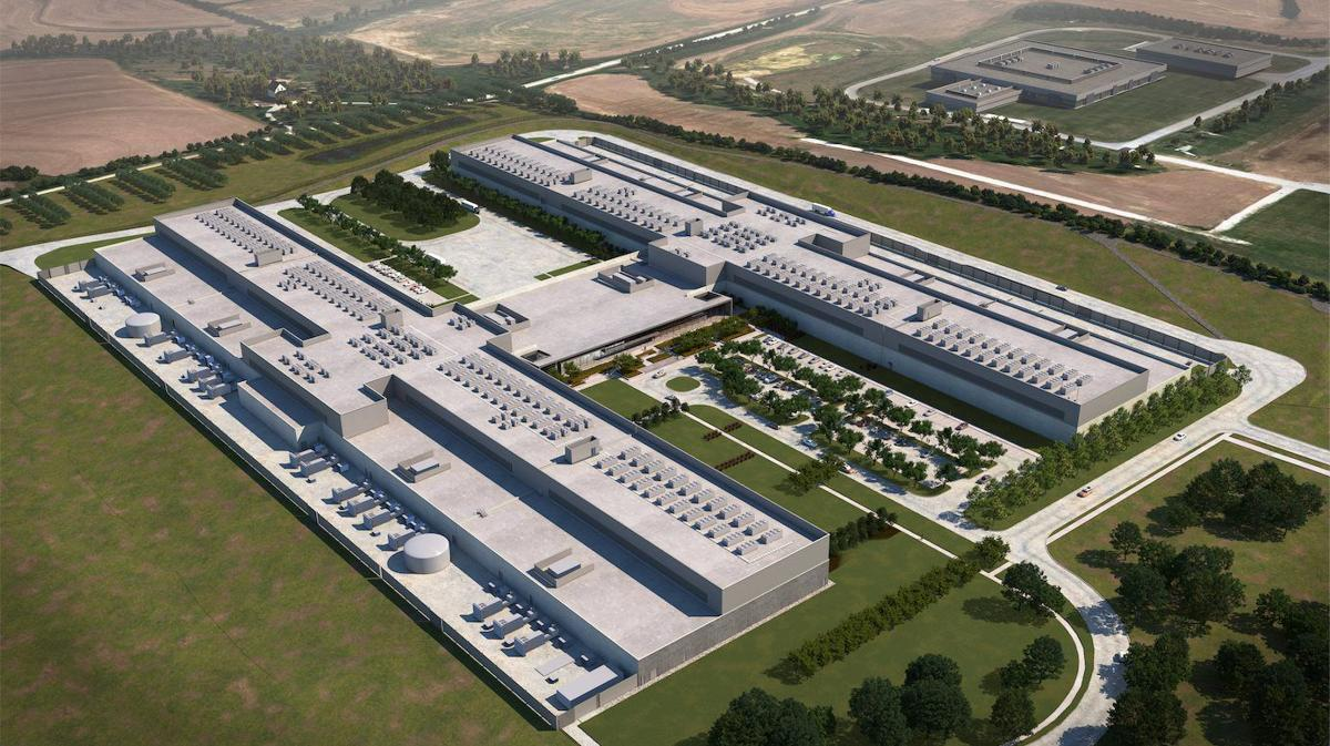 Facebook data center rendering