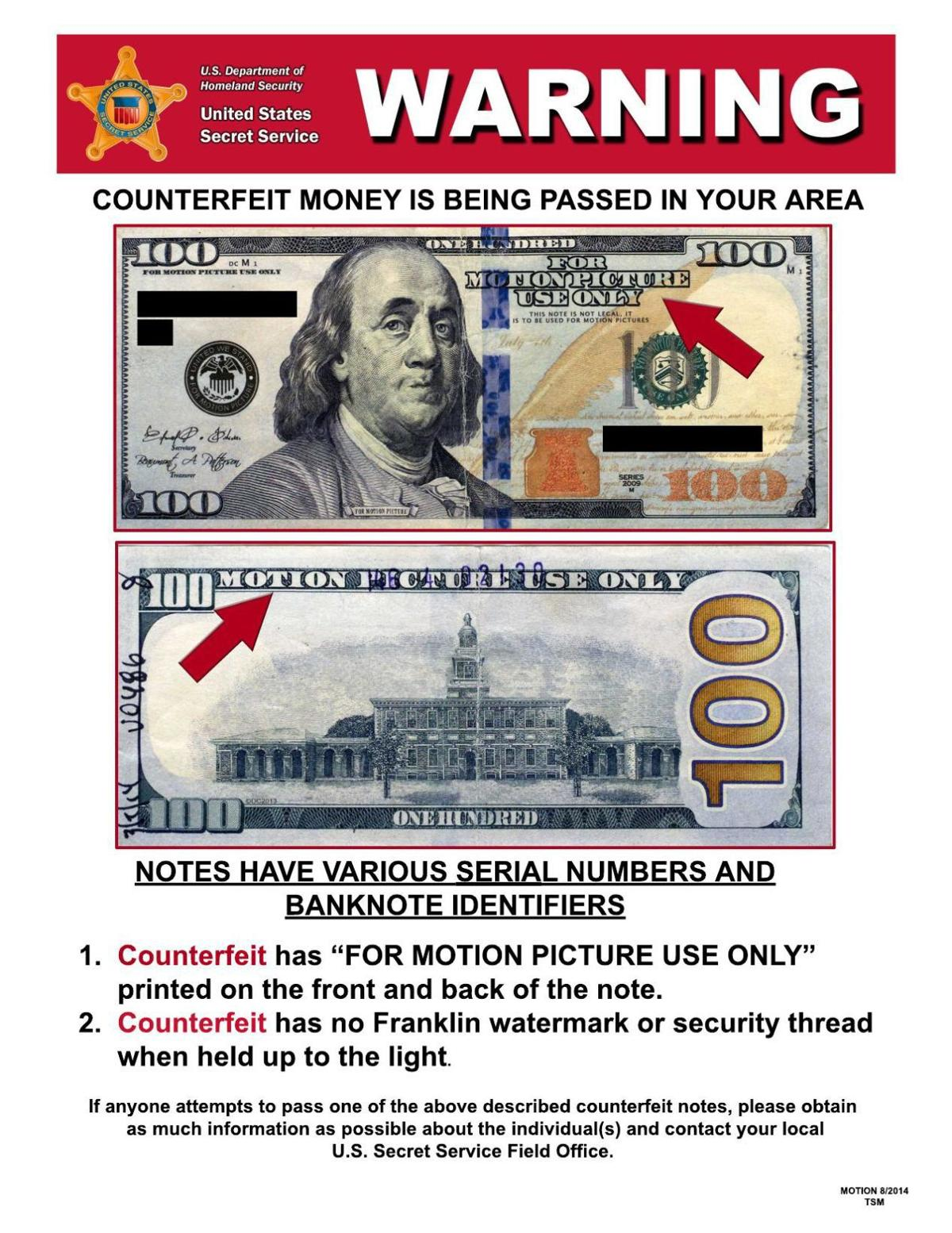 Counterfeit money is being passed in your area