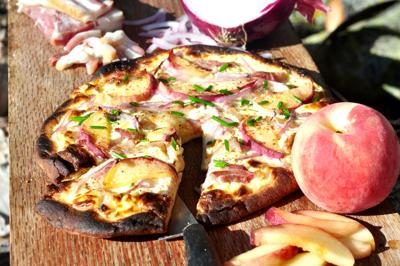 Peach and Bacon Grilled Pizza 3