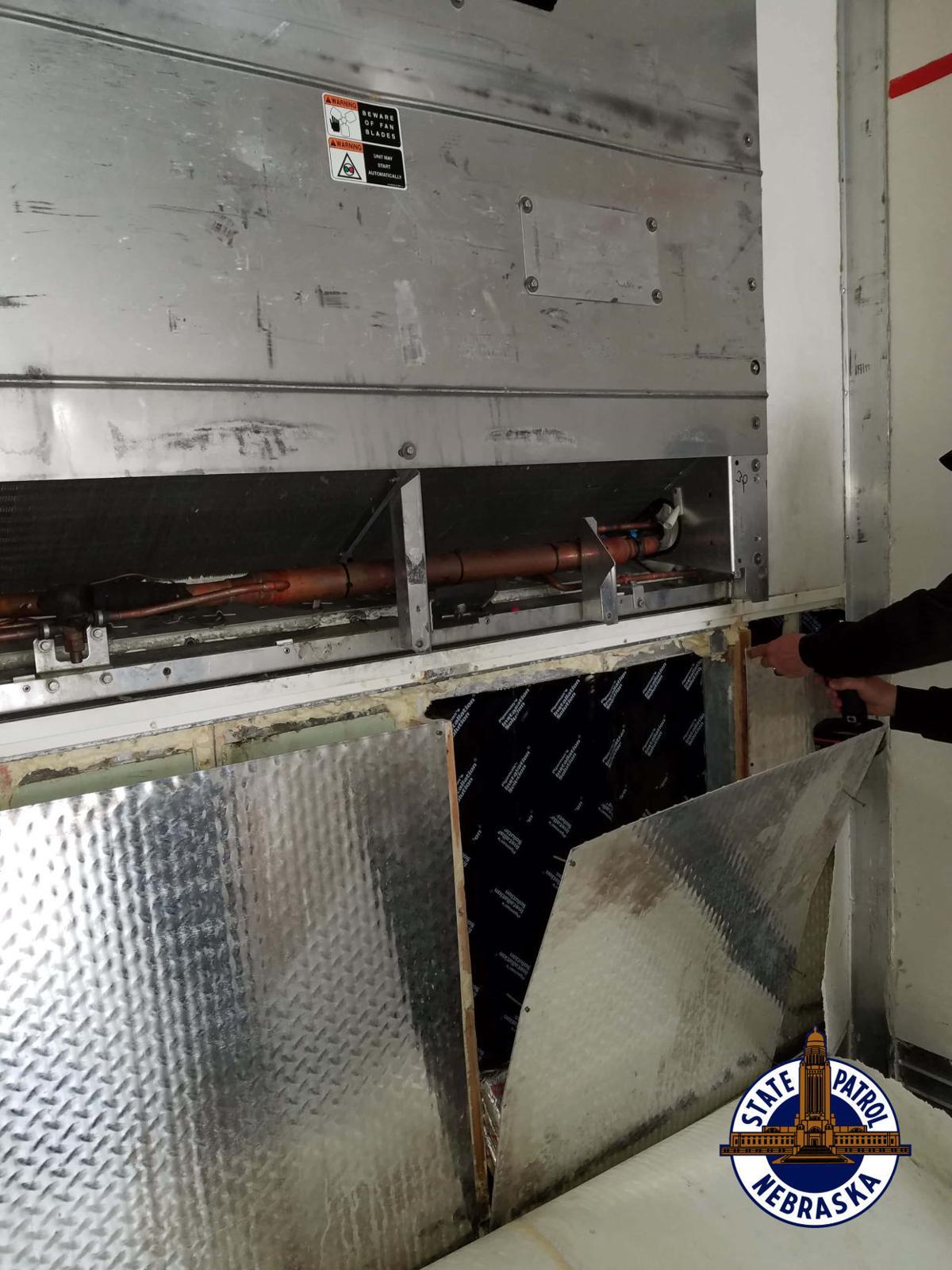Compartment where drugs were found