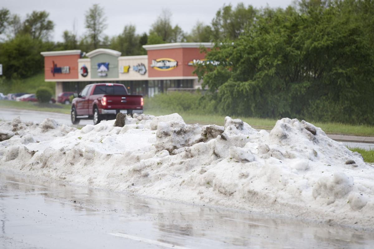 Hail pile near 144th and Spring