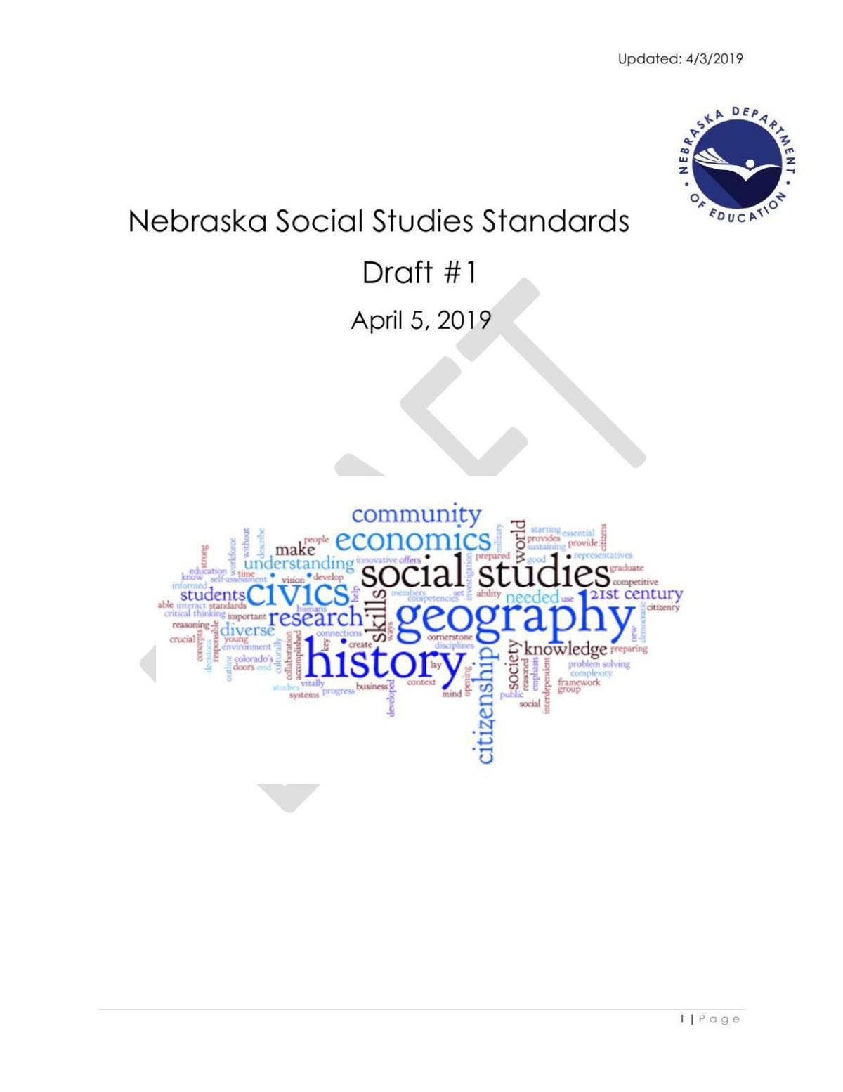 Social Studies Standards Revision (proposed draft)