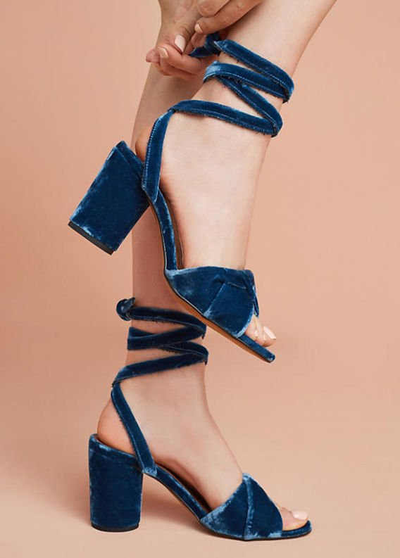 Bride Blogger Miss Rose Gold Blue Heels Anthropologie