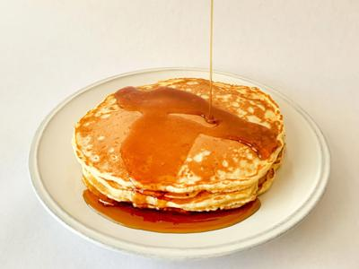 Fluffy and hot all at the same time, diner-style pancakes are the best breakfast for two.