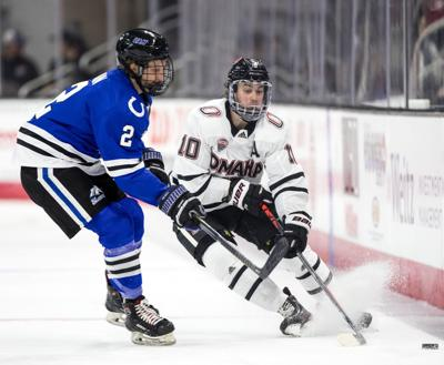 UNO junior forward Kevin Conley's first career hat trick came with only one downside