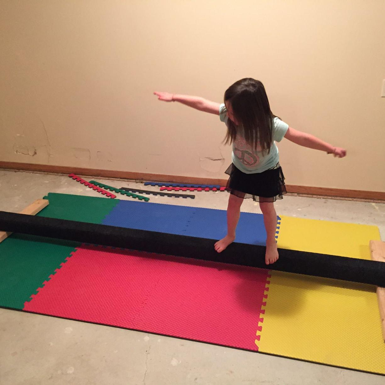 Dad tackles home gymnastics project