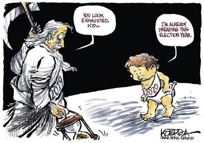 Jeff Koterba's latest cartoon: A tired Baby New Year