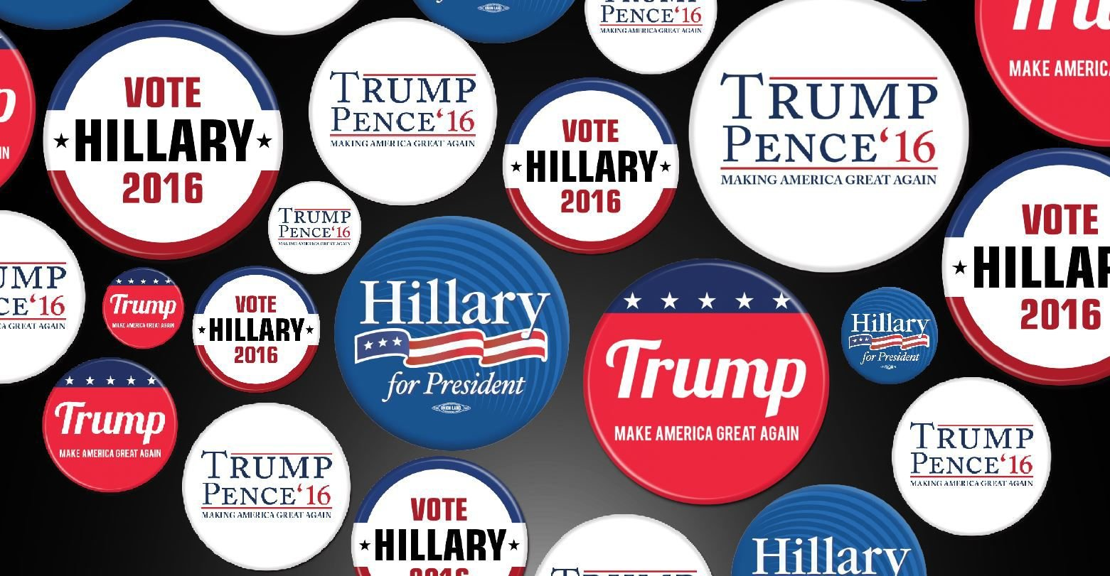6 Sizes Hillary Clinton Campaign Logo Pin-Back Button Democrat Liberal USA