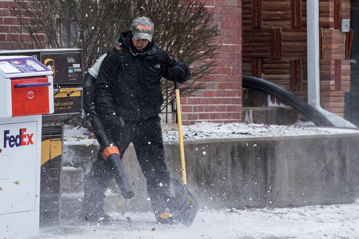 Light snow removed with leaf blower
