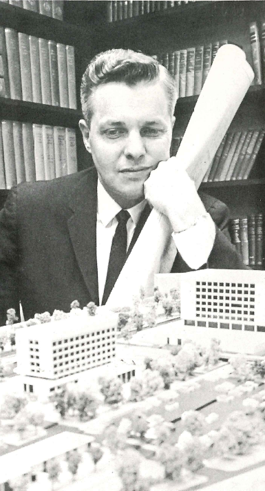 Mr. Estabrook  with model of Methodist Hospital