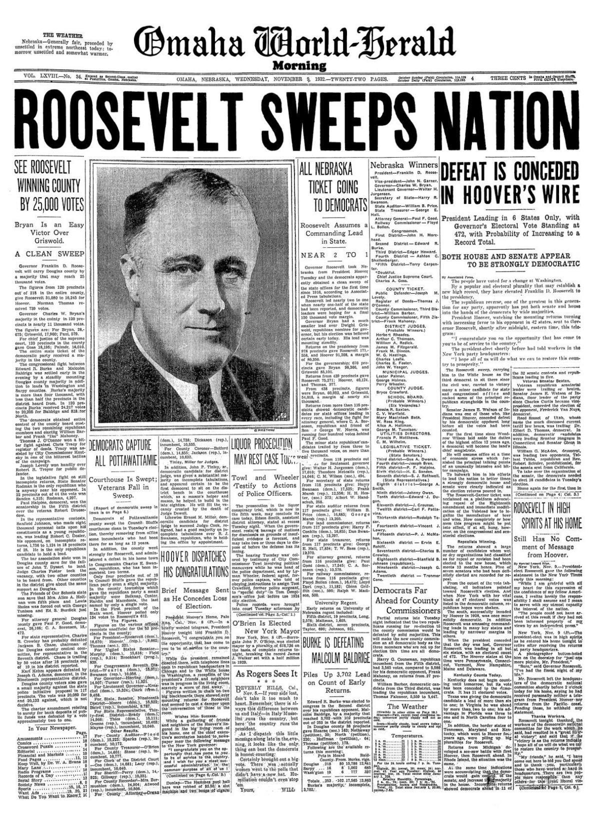 1932: Roosevelt elected