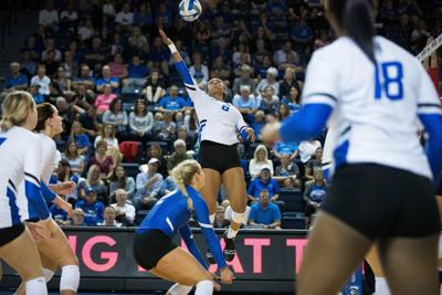 In first-ever D-I meeting, Creighton sweeps UNO; Jays coach Kirsten Bernthal Booth earns 350th win