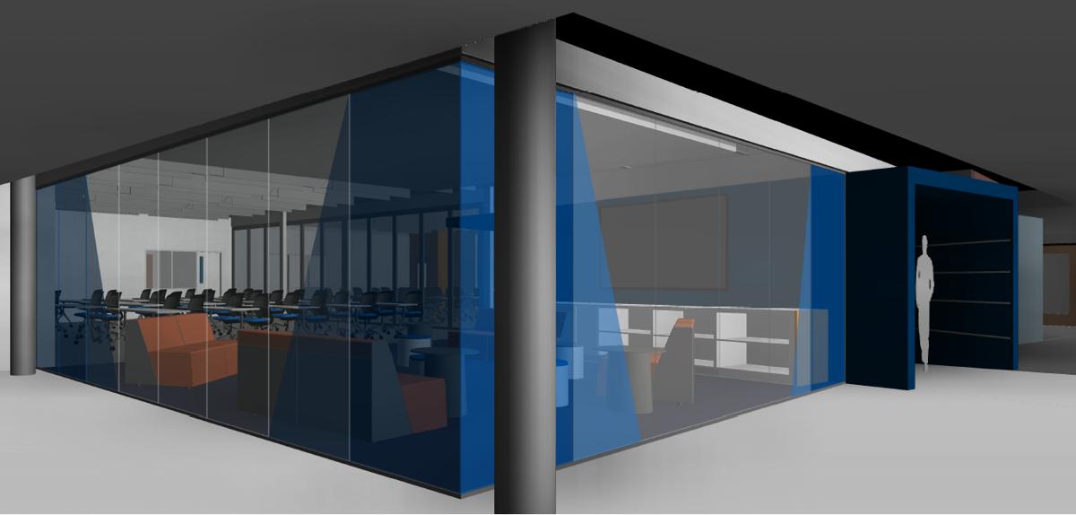 Artist's concept of the innovation center under construction at Daniel J. Gross High School.