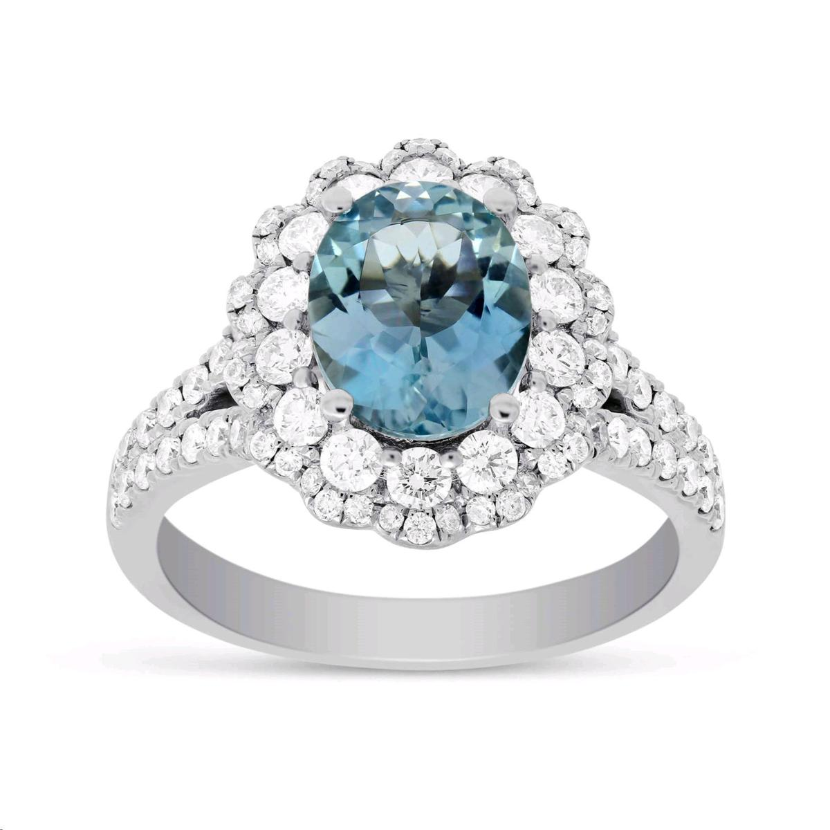 7c2172bf4 WeddingEssentials_GetTheRoyalLook_Big Aqua.jpg. 18K white gold oval  aquamarine and diamond halo ...