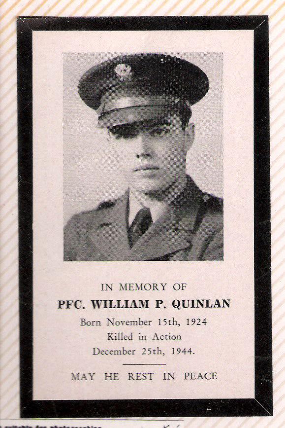 william quinlan prayer card